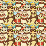 Colorful seamless pattern with funny pandas Royalty Free Stock Image
