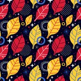 Colorful seamless pattern with geometric and floral elements. Can be used for web design, posters, textile and backgrounds. Colorful seamless pattern with Royalty Free Stock Image