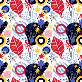 Colorful seamless pattern with geometric and floral elements. Can be used for web design, posters, textile and backgrounds. Colorful seamless pattern with Stock Photography
