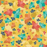 Colorful seamless pattern with geometric flowers on yellow background stock illustration