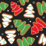 Colorful seamless pattern with gingerbreads stock illustration