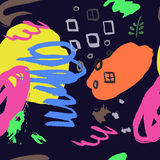 Colorful seamless pattern with grange, inks, shapes elements on Stock Image