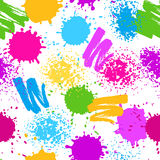 Colorful seamless pattern. Grunge background with paint splashes, blotches, spots and drops.  Stock Photo