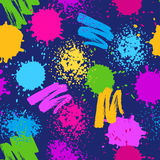 Colorful seamless pattern. Grunge background with paint splashes, blotches, spots and drops.  Stock Photos
