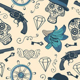 Colorful seamless pattern with guns, diamonds and Stock Photos