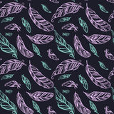 Colorful seamless pattern with hand drawing ornament feathers. Royalty Free Stock Photos