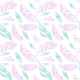 Colorful seamless pattern with hand drawing ornament feathers. Stock Photo