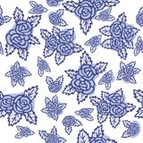 Colorful seamless pattern. Hand drawn blue roses on white background. Vintage design. Seamless pattern, bouquets of blue roses on white background. Hand drawn Royalty Free Stock Photos
