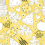 Colorful seamless pattern with hand drawn exotic fruits Royalty Free Stock Photo