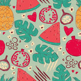 Colorful seamless pattern with hand drawn exotic fruits Royalty Free Stock Images