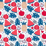 Colorful seamless pattern with hand drawn exotic fruits Royalty Free Stock Photos