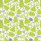 Colorful seamless pattern with hand drawn exotic fruits Stock Photos