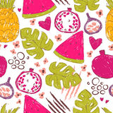 Colorful seamless pattern with hand drawn exotic fruits Stock Image