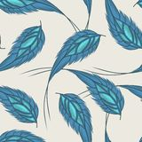 Colorful seamless pattern with hand drawn feathers Stock Image