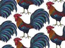 Colorful seamless pattern with hand drawn fiery roosters. In doodle ornate style. Beautiful vector endless background. Symbol of the new year Stock Photo