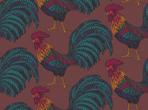 Colorful seamless pattern with hand drawn fiery roosters. In doodle ornate style. Beautiful vector endless background. Symbol of the new year Royalty Free Stock Photography