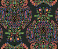 Colorful  seamless pattern with hand drawn ornate owls Stock Photo