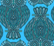 Colorful  seamless pattern with hand drawn ornate owls Stock Photography
