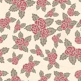 Colorful seamless pattern. Hand drawn pink roses on beige background. Flowers vintage theme. Seamless pattern with pink roses and gray leaves. Hand drawn flowers Stock Photo