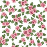 Colorful seamless pattern. Hand drawn pink roses on white background. Seamless pattern with pink roses and green leaves. Hand drawn elements Stock Photos