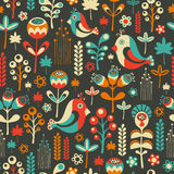 Colorful seamless pattern with happy birds and flowers. Stock Photos