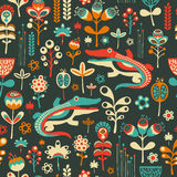 Colorful seamless pattern with happy crocodiles and flowers. Royalty Free Stock Images