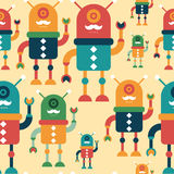 Colorful seamless pattern with happy hipster robots. Royalty Free Stock Images