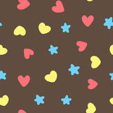 Colorful seamless pattern with hearts and stars. Yellow, pink, blue, brown color. Vector illustration Stock Images