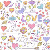 colorful seamless pattern with hearts, Stock Photo