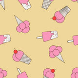 Colorful seamless pattern of ice cream in pop art style. Ice cream background. Pattern seamless  illustration. Concept background picture Stock Image