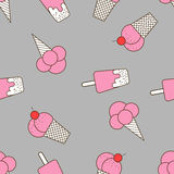Colorful seamless pattern of ice cream in pop art style. Ice cream background. Pattern seamless  illustration. Concept background picture Stock Photo