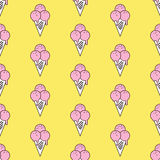 Colorful seamless pattern of ice cream in pop art style. Ice cream background. Pattern seamless vector illustration. Concept background picture Royalty Free Stock Images