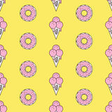 Colorful seamless pattern of ice cream in pop art style. Ice cream background. Pattern seamless vector illustration. Concept background picture Stock Photo