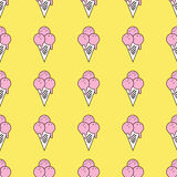 Colorful seamless pattern of ice cream in pop art style. Ice cream background. Pattern seamless vector illustration. Concept background picture Stock Image