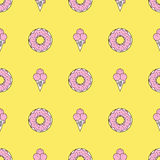 Colorful seamless pattern of ice cream in pop art style. Ice cream background. Pattern seamless vector illustration. Concept background picture Royalty Free Stock Photography
