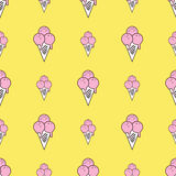 Colorful seamless pattern of ice cream in pop art style. Ice cream background. Pattern seamless vector illustration. Concept background picture Royalty Free Stock Photos