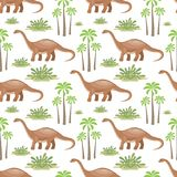 Brontosaurus seamless pattern. Colorful seamless pattern with the image of funny dinosaurs in cartoon style. Vector background Royalty Free Stock Photos