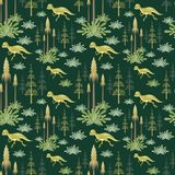 Seamless pattern with prenocephale. Colorful seamless pattern with the image of funny dinosaurs in cartoon style. Vector background Stock Photo