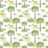 Seamless pattern with prenocephale. Colorful seamless pattern with the image of funny dinosaurs in cartoon style. Vector background Royalty Free Stock Photo