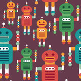 Colorful seamless pattern with intelligent robots. Royalty Free Stock Image