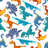 Colorful seamless pattern of jurassic dinosaurs Stock Image