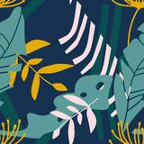 Colorful seamless pattern with leaves vector illustration