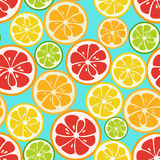 Colorful seamless pattern with lime, orange and grapefruit. Tasty summer background. Yummy tropical fruits endless texture. Can be used for wallpapers, banners Stock Photos