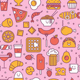 Colorful seamless pattern with line icons of fast food Royalty Free Stock Photos