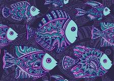Colorful seamless pattern of a lot of decorative fishes Stock Images