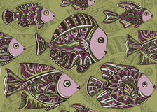 Colorful seamless pattern of a lot of decorative fishes Royalty Free Stock Photo