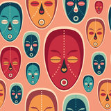 Colorful seamless pattern with love ethnic masks. Stock Photo