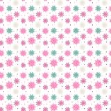 Colorful seamless pattern of many snowflakes on white background Royalty Free Stock Photography