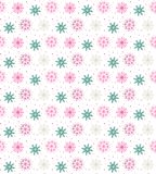 Colorful seamless pattern of many snowflakes on white background Royalty Free Stock Photo