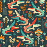 Colorful seamless pattern with merry crocodiles and flowers. Royalty Free Stock Photography
